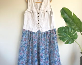 Vintage White Jean and Floral Plus Size Field Dress Size 14-16