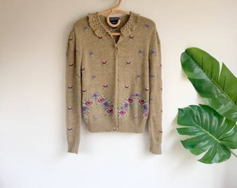 Vintage Tan Embroidered Linen Cardigan Sweater Size Medium by Herman Geist