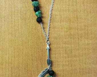 Aventruine & Lava Stone Diffuser Necklace