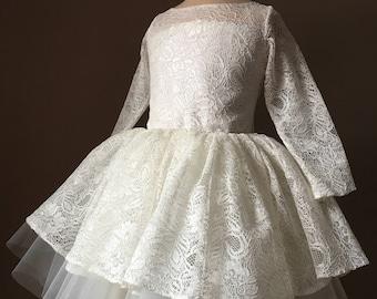 POEM Ivory Lace  Tulle Flower Girl Dress Vintage Dress Wedding Bridesmaid Dress