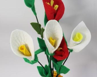 Felt Flower Set Red White Gift Bouquet