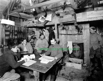 "French engineering troops underground quarters Verdun 1916 Photo print 6"" x 8"""