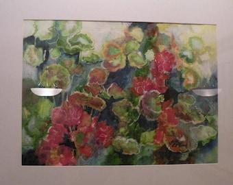 "Geraniums Original watercolor painting on paper  16 x 20"""
