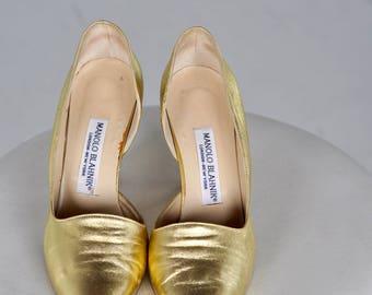 Vintage Manolo Blahnik Gold Heels