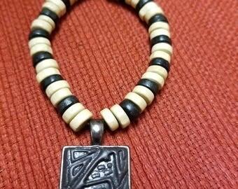 Beaded polymer clay charm bracelet