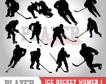 Ice Hockey Women SVG, Ice Hockey Sport svg, Ice Hockey digital clipart, athlete silhouette, Ice Hockey Women, cut file, design, A-039