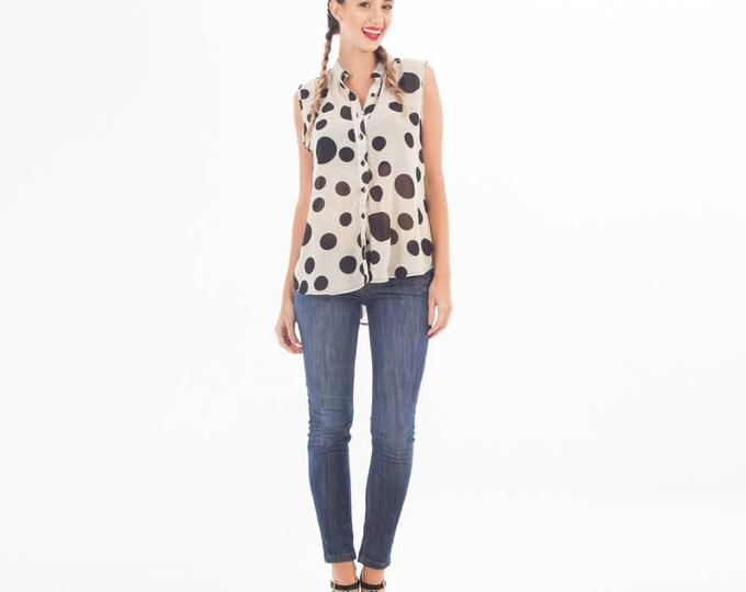 Polka Dot Top - Top Sleeveless Button - Polka Dot Blouse - Polka Dot Clothing - Women Clothing - Chiffon Top - Blouse with Button