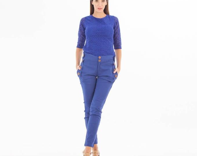 Blue Top - Lace Top - Lace Clothing - Lace Blue Top - Lace - Lace Sleeve - Brocade blouse - Blue blouse - Formal wear