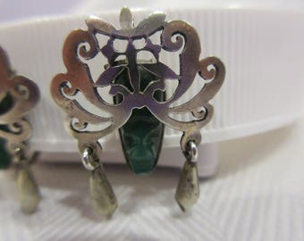 Tribal Mexico Silver Carved Face Earrings
