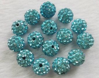 8mm 10mm Shamballa Spacer Beads , Rhinestone Disco Balls , Aquamrine Shamballa Beads, Polymer Clay Beads ,DIY jewelry accessories ,Findings