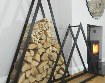 Large Triangle Steel Log Holder - Handmade - UK