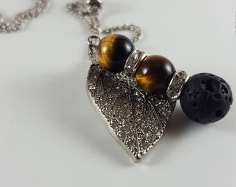 Essential Oil Lava Diffuser Necklace, Black Lava Rock & Tiger Eye. Aromatherapy. Purification. Balance. Harmony. Courage. Strength. Energy