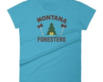 Women's short sleeve Montana Foresters t-shirtAll designs from Rowdy Grouse are original and home grown.