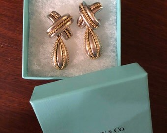 Authentic Tiffany & Co. Vintage 18Kt. yellow gold and sterling silver Signature X crossover earrings
