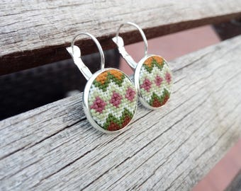 Hand embroidered diamond earrings with cross stitch