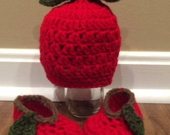 Matching Apple Hat and Slippers for Baby/ Baby Hat and Booties