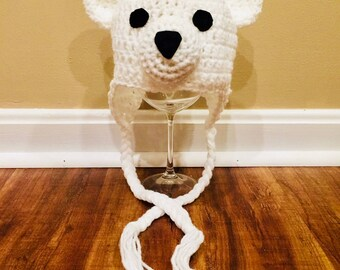 Polar Bear Baby Hat/ White & Black Bear Hat/ Winter Hat