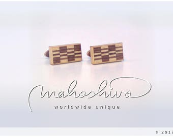 wooden cuff links wood walnut maple handmade unique exclusive limited jewelry - mahoshiva k 2017-55