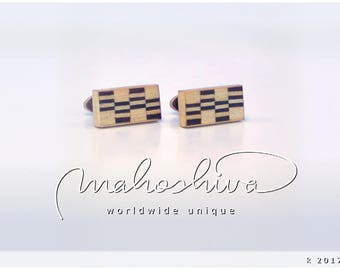 wooden cuff links wood fumed oak maple handmade unique exclusive limited jewelry - mahoshiva k 2017-60