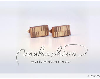 wooden cuff links wood walnut maple handmade unique exclusive limited jewelry - mahoshiva k 2017-114