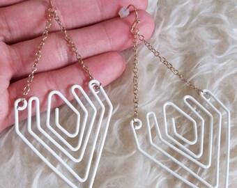 White Wire Dangle Earrings