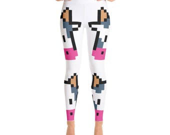 Giant Cow Print Yoga Leggings - Womens Leggings - Adult Leggings - Ladies Leggings - Fun Print Leggings - Cows