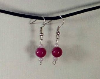Handmade Pink Glass Earrings