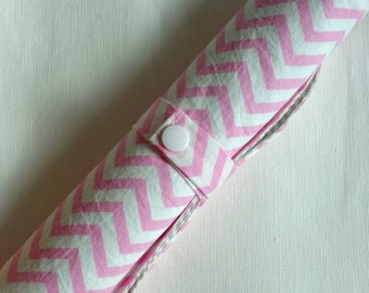 Pink/white chevron baby waterproof changing pad, Travel changing pad ,wet bag ,shower gifts