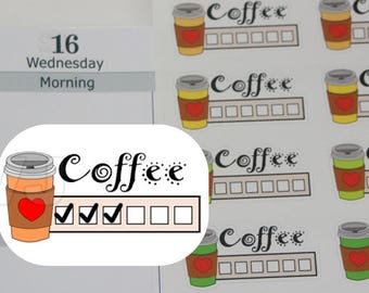 27 coffee planner stickers,coffee lover sticker,i love coffee,coffee cup tracker,coffee intake,but first coffee,work late coffee------M176P