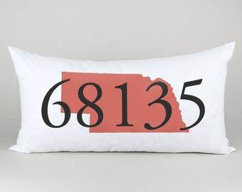 Zip Code Pillow / New Home Gift / Graduation Gift / New Home Housewarming Gift / Retirement Gift / Moving Gift / Living Room Decor Pillow