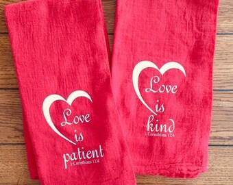 St Valentine's Day Scripture Verse Flour Sack Towel