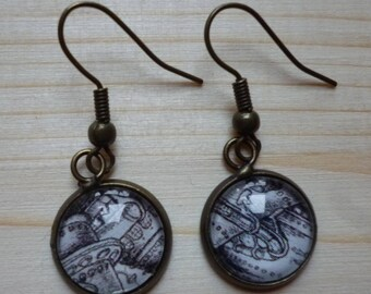 earrings with upcycled paper ' and glass cabochon