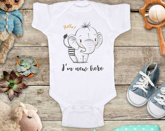 Hello I'm new here baby elephant (1) cute Baby bodysuit - baby shower gift baby birth pregnancy announcement