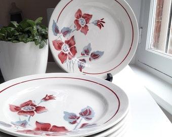 """Francais Vintage lot de 8 assietes en porcelaine de Sarreguemines/Digoin """"clématite"""" 1930/6 Old  vintage ceramic plates from DIGOIN of 1930"""