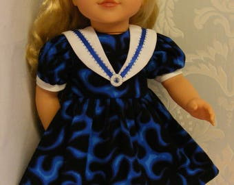 """Unique 18"""" Doll Dress with Sailors Collar"""