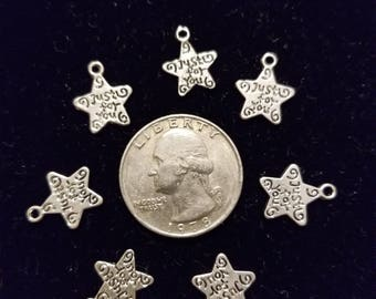 Tibetan Silver Star 10 pieces for charms/earrings/necklaces/ hairbow/scrapbooking /crafts, etc.