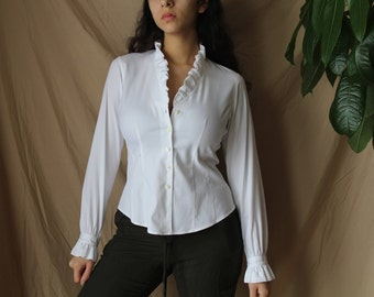 Vintage Crisp White Blouse, Ruffle Neck and Sleeve Detail, V Neck Classic and Chic Blouse, Spring and Summer Top Romantic Style
