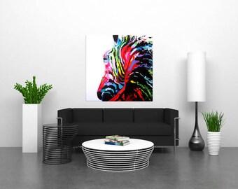 Colorful Zebra 1mx1m hand painted acrylic canvas