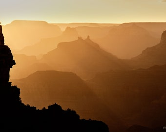 Photograph of the Grand Canyon at Sunset, printed on metal and ready to hang