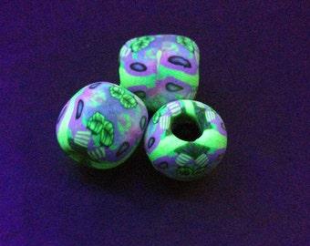 UV Active Blacklight dread Beads Black Light Dreadperlen trippy psy
