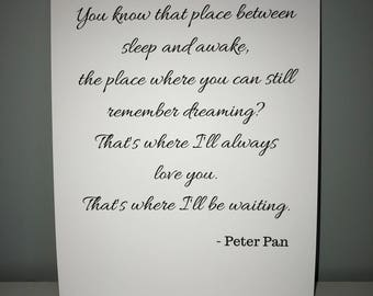 You know that place between sleep and awake... Peter Pan A4 modern print