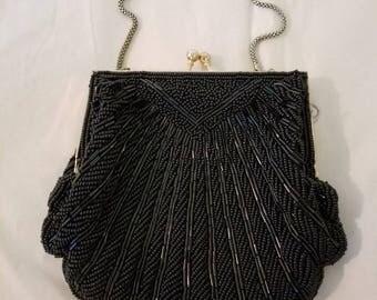 Black Walborg Beaded Evening Bag