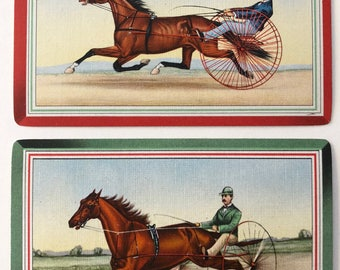 Pair Of Vintage Swap / Playing Cards - Old Fashioned Race Horses - Linen Finish - Mint Condition
