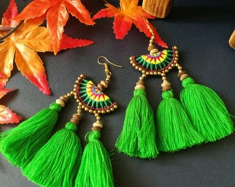 Handcraft Semi Circle Embroidered Tribal Ethnic Earrings Statement Dangle Drop Boho Chic Beaded Tassel Green Earrings