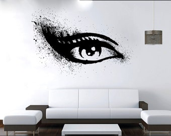 Wall Decal Window Sticker Beauty Salon Woman Face Eyelashes Lashes Eyebrows Brows t64