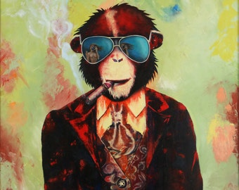 Pop art portrait Oil on canvas Monkey Cigar Sun glasses painting Large wall art Green Burgundy bright realistic bright colorful non framed