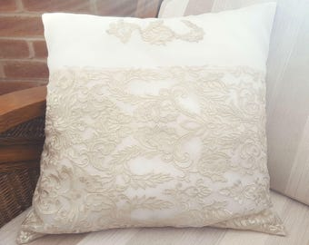 Lace Pillowcase, Handmade Pillowcase, Ecru Pillowcase, Glitter, White Lace, Tulle, Glitter Lace, Pillowcase, Organza