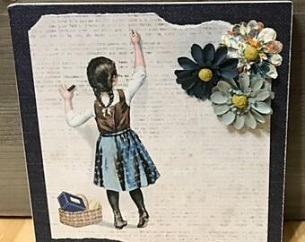 Little Girl Blue Hanging Art Plaque