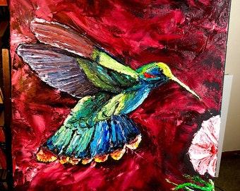 Crimson Hue Hummingbird- Palette Knife Oil Painting