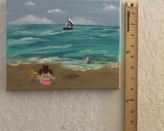 Little Girl Playing on The Beach Acrylic Art Painting